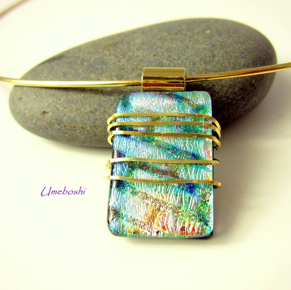 Spirit of the Sea Brass Wire Wrapped Handmade Dichroic Fused Glass Pendant