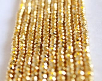 "Gold Pyrite Beads - Full Strand 13.5"" - 3mm x 4mm Rondelle Beads - Faceted Beads - Small Gold Beads - Wholesale Beads - Bright Gold / GB-008"