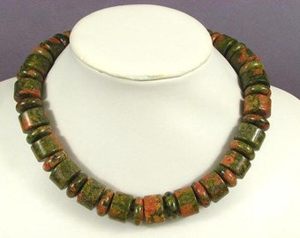 Necklace Unakite 18mm Rondells 925 NSEP5142