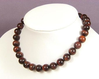 Necklace Red Tiger Eye 12mm Round Beads NSTE4050