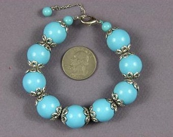 bracelet Baby Blue South Sea Shell Pearls 16mm w/ Cap BHSU0130