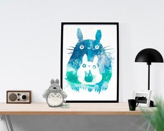 Studio Ghibli My Neighbor Totoro Watercolor Art Poster