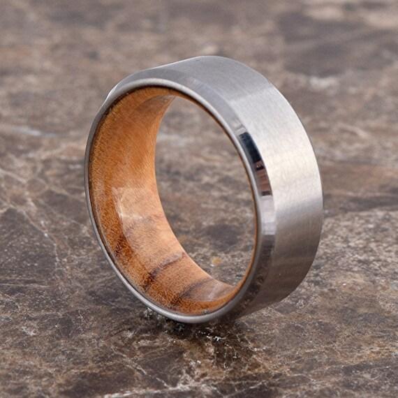 Mens Wood Wedding Bands South Africa: Titanium & Olive Wood // Exotic Hardwood Ring By