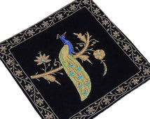 Black Velvet Fabric Hand Embroidered Large Zardozi and Dabka Work Peacock Pattern Accent Pillowcase from India - NH15679