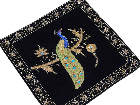 Black Velvet Fabric Hand Embroidered Large Zardozi And Dabka