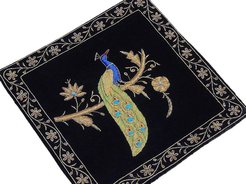 Black Velvet Fabric Hand Embroidered Large Zardozi And Dabka