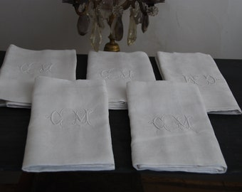 5 beautiful French vintage linen damask napkins circa 1930 in good condition, monogramme CM