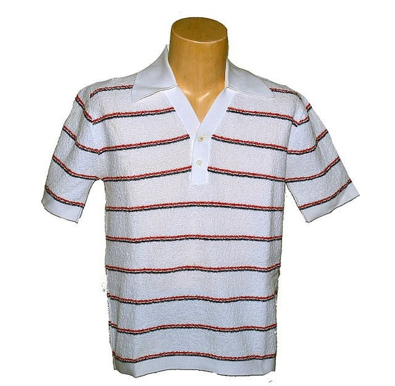 Vintage mens 39 s polo shirt 60 39 s 70 39 s terry cloth by for Mens terry cloth polo shirt