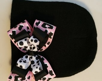Black Infant Beanie with Pink Leopard Bow