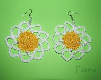 Crochet earrings designer earrings flower earrings gentle stylish earrings white and yellow earrings gift ideas for women under 20 (CE-4)