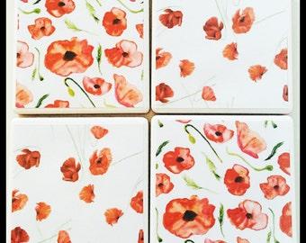 Set of 4 red poppy print ceramic coasters