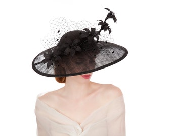 Black Lily Large Brimmed Hat
