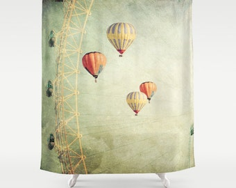 Balloons Shower Curtain Bathroom home decor, hot air balloons, whimsical, carnival, sky yellow, balloons curtain, whimsical curtain