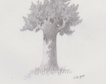 Original Pencil Sketch of Tree part of a large series . Framed and Matted