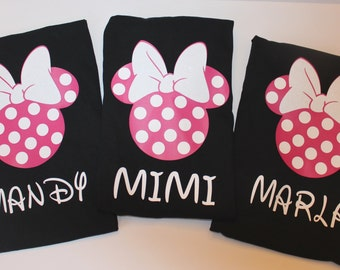 Matching Girls/Ladies Personalized Disney Shirts Black, Polka Dot Minnie, Disney family shirts