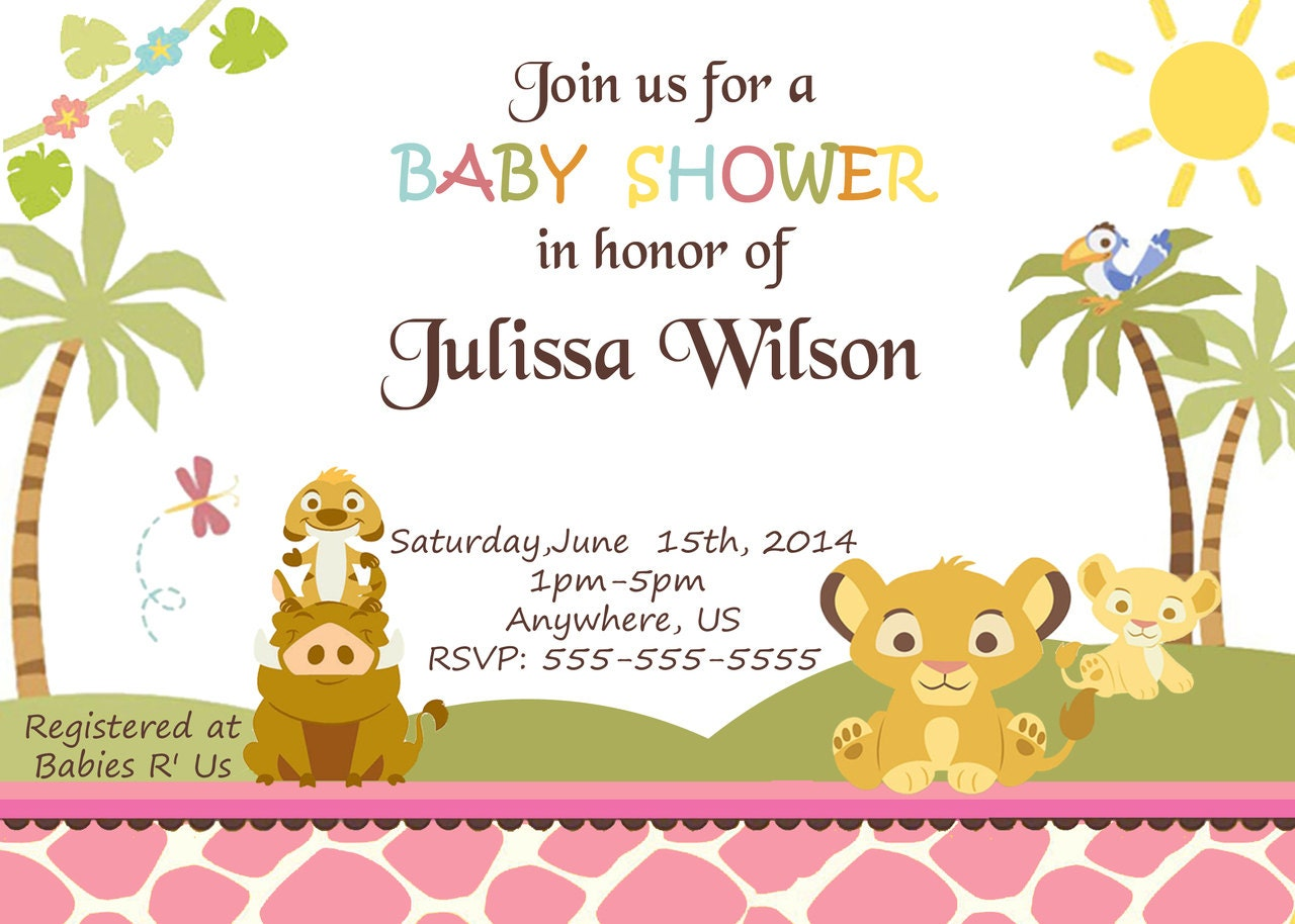 baby simba lion king baby shower invitations pink by mendozashoppe