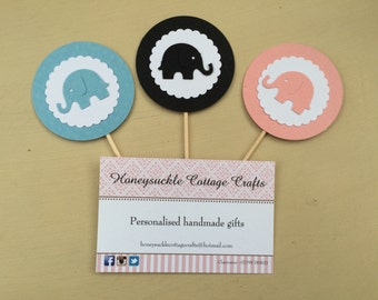 24 Elephant Baby Shower Cupcake Tags