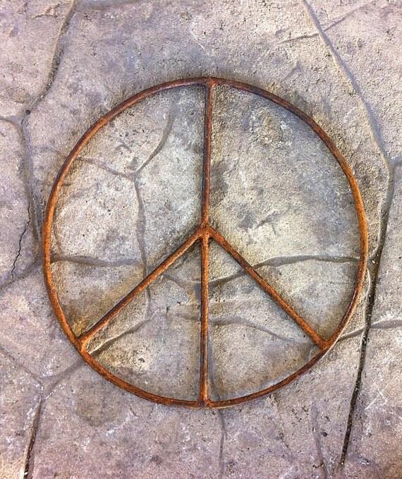 Peace Sign Wall Decor Metal : Rust peace sign wall art metal yard garden