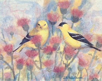 Goldfinch with Thistle print