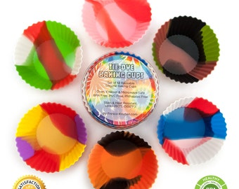 Tie-Dye Cupcake Liners set of 12* 6 colors Silicone Baking Cups