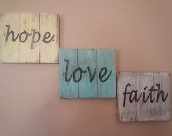 Inspirational pallet wall art / hand painted signs distressed & rustic