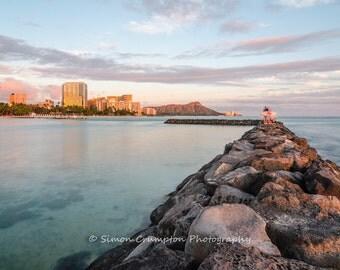 Waikiki Beach Sunset - Oahu, Hawaii - Landscape Photograph - Fine Art Print