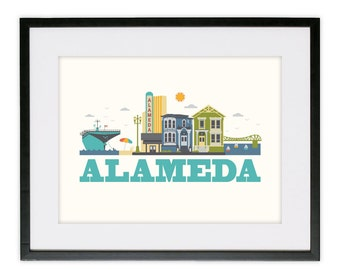 "12"" X 18"" Poster Print - Alameda City Living Design - Show Off Your Favorite City"
