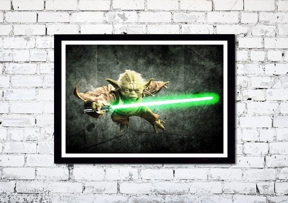 Star Wars // Master Yoda // Movie Poster // A3 handmade poster // Unique Art