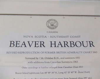 Beaver Harbour ~ SE Coast of Nova Scotia, Canada - Surv. by Cdr. Orlebar R.N. in 1857 - incl sketch of Beaver Island Lighthouse Chart #1210