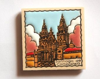 Camino De Santiago Cathedral Of Compostela Fridge Magnet Tile #1