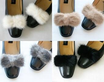 Genuine Natural Mink Fur Big Bow Ribbon Shoe Clips Ornaments Shoe Charms