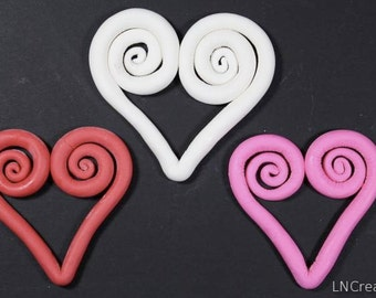 Red, White, & Pink Swirl Fondant Hearts