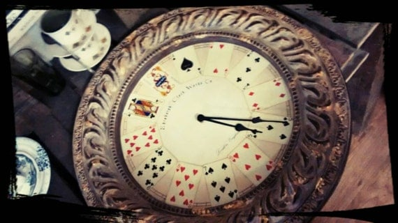Sale Oversized Gold Upcycled Vintage Playing Card Clock