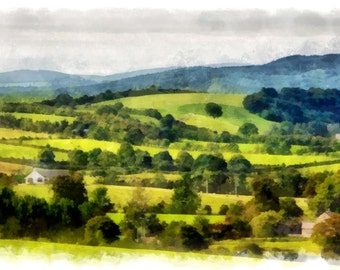 Beautiful Irish Countryside in Watercolor (Instant Download)