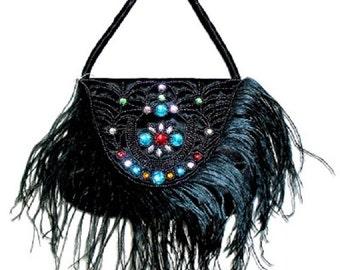 Vintage Black Satin Jewelled Ladies Handbag with Feathers