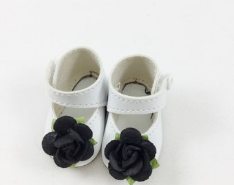 """Doll Shoes Fit 14"""" Hearts for Hearts Dolls White with Black Rose Embellishment"""