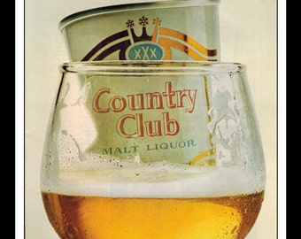 "Vintage Print Ad February 1966 : Country Club Malt Liquor Wall Art Decor 8.5"" x 11"" Advertisement"