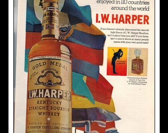 "Vintage Print Ad November 1967 : I.W. Harper Bourbon Country Flags Wall Art Decor 8.5"" x 11"" Advertisement"