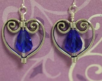 Tibetan Silver Heart with Blue Drop Bead Dangle Earrings (S-150015)