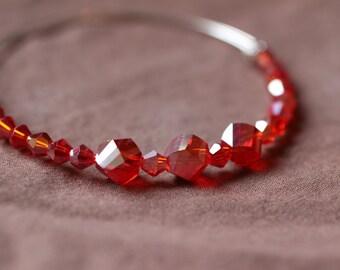 Red Crystals Memory Wire Adjustable Bracelet.  (S-150057)