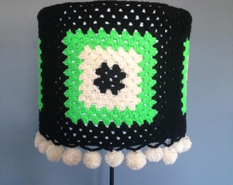 Granny Square Crochet Lampshade cover with pompoms-15 inch diameter