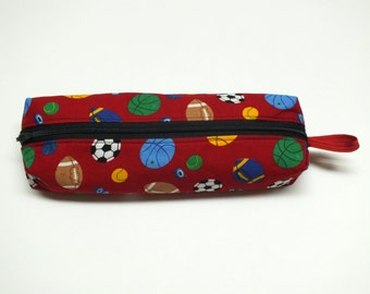 Sports print pouch, pencil case, cosmetic pouch, red sports print, zippered pouch