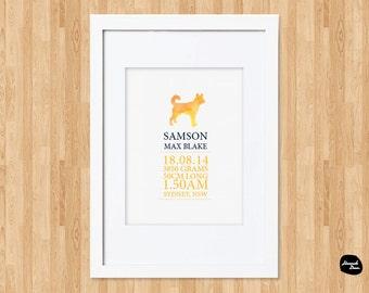 PERSONALISED AUSTRALIAN THEMED Nursery Decor ~ Dingo ~ Baby Birth Details Print ~ Wall Art ~ Printable Design