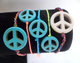friendship string peace symbol bracelet