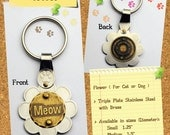 Pet Tag, Dog Tag, Pet ID for Dogs and Cats Customized, Handmade, Etched Flower