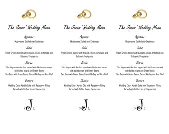 Printable Wedding Menu with Monogram