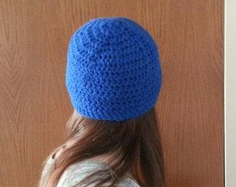 Handmade cobalt blue crochet beanie