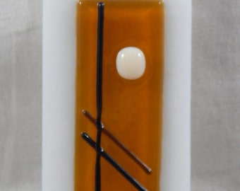 Abstract art glass suncatcher kiln fired fused stained glass window hanger