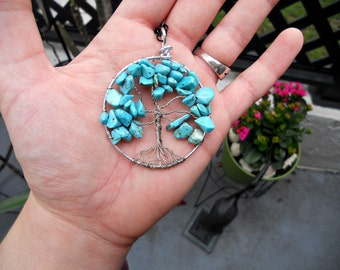 Tree of Life Pendant: Turquoise Wire wrapped