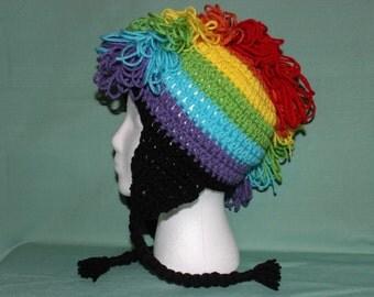 Rainbow Mohawk Earflap Hat
